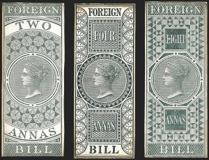 Sale Number 1143, Lot Number 3416, India - OfficialsINDIA, 1860s, 2a, 4a, 8a Foreign Bill Revenue Stamps, Die Proofs, INDIA, 1860s, 2a, 4a, 8a Foreign Bill Revenue Stamps, Die Proofs