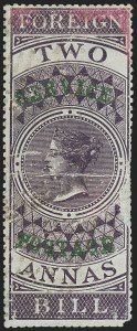 "Sale Number 1143, Lot Number 3418, India - OfficialsINDIA, 1866, 2a Violet, Official, Complete with Inscription ""Foreign Bill"" (SG O16a; Scott O12 var), INDIA, 1866, 2a Violet, Official, Complete with Inscription ""Foreign Bill"" (SG O16a; Scott O12 var)"