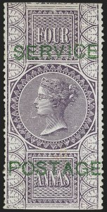 Sale Number 1143, Lot Number 3419, India - OfficialsINDIA, 1866, 4a Violet, Official (SG O17; Scott O13), INDIA, 1866, 4a Violet, Official (SG O17; Scott O13)