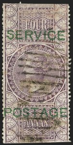 Sale Number 1143, Lot Number 3420, India - OfficialsINDIA, 1866, 4a Violet, Official (SG O17; Scott O13), INDIA, 1866, 4a Violet, Official (SG O17; Scott O13)