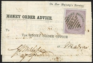 Sale Number 1143, Lot Number 3423, India - OfficialsINDIA, 1866, -1/2a Violet, Official (SG O19; Scott O15), INDIA, 1866, -1/2a Violet, Official (SG O19; Scott O15)