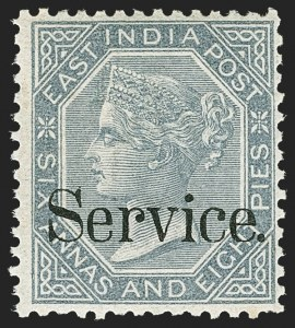 Sale Number 1143, Lot Number 3427, India - OfficialsINDIA, 1866-73, 6a8p Slate, Official (SG O30b; Scott O21 Footnote), INDIA, 1866-73, 6a8p Slate, Official (SG O30b; Scott O21 Footnote)