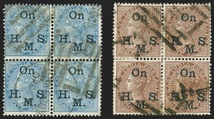 Sale Number 1143, Lot Number 3429, India - OfficialsINDIA, 1874-82, -1/2a Blue, 1a Brown, Official, Blue-Black Overprint (SG O36-O37; Scott O22a-O23a), INDIA, 1874-82, -1/2a Blue, 1a Brown, Official, Blue-Black Overprint (SG O36-O37; Scott O22a-O23a)