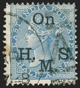 Sale Number 1143, Lot Number 3430, India - OfficialsINDIA, 1874-82, -1/2a Blue, Official, Blue-Black Overprint, Watermark Inverted (SG O36 var; Scott O22a var), INDIA, 1874-82, -1/2a Blue, Official, Blue-Black Overprint, Watermark Inverted (SG O36 var; Scott O22a var)
