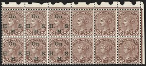 Sale Number 1143, Lot Number 3431, India - OfficialsINDIA, 1883-97, 1a Maroon, Official, Horizontal Pair, One Overprint Omitted (SG O40c; Scott O28 var), INDIA, 1883-97, 1a Maroon, Official, Horizontal Pair, One Overprint Omitted (SG O40c; Scott O28 var)
