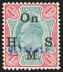 "Sale Number 1143, Lot Number 3432, India - OfficialsINDIA, 1902-09, 3p-2a, 1r Officials, ""Ultramar"" Overprints (SG O54S, O56S, O58S, O65S; Scott O37S-O40S, O44S), INDIA, 1902-09, 3p-2a, 1r Officials, ""Ultramar"" Overprints (SG O54S, O56S, O58S, O65S; Scott O37S-O40S, O44S)"