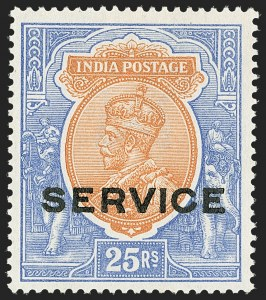 "Sale Number 1143, Lot Number 3434, India - OfficialsINDIA, 1912, 5r-25r George V, Officials, Experimental ""Service"" Overprint in Shiny Black Ink (SG O93-O96 vars; Scott O62-O65 vars), INDIA, 1912, 5r-25r George V, Officials, Experimental ""Service"" Overprint in Shiny Black Ink (SG O93-O96 vars; Scott O62-O65 vars)"