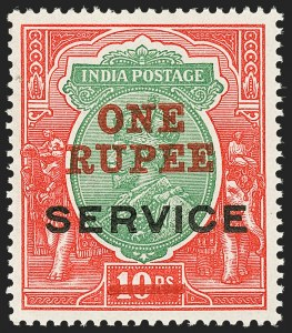 Sale Number 1143, Lot Number 3436, India - OfficialsINDIA, 1925, 1r on 10r Carmine Rose & Green, Official, Trial Surcharge Essay (SG O94E; Scott O63E), INDIA, 1925, 1r on 10r Carmine Rose & Green, Official, Trial Surcharge Essay (SG O94E; Scott O63E)