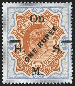 Sale Number 1143, Lot Number 3440, India - OfficialsINDIA, 1925, 1r on 25r Ultramarine & Orange Brown, Official, Trial Surcharge Essay (SG O100E; Scott O68E), INDIA, 1925, 1r on 25r Ultramarine & Orange Brown, Official, Trial Surcharge Essay (SG O100E; Scott O68E)