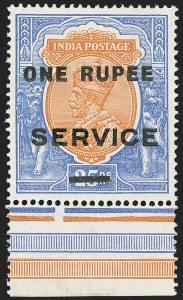 Sale Number 1143, Lot Number 3441, India - OfficialsINDIA, 1925, 1r on 25r Ultramarine & Brown Orange, Official, Trial Surcharge Essay (SG O103E; Scott O71E), INDIA, 1925, 1r on 25r Ultramarine & Brown Orange, Official, Trial Surcharge Essay (SG O103E; Scott O71E)