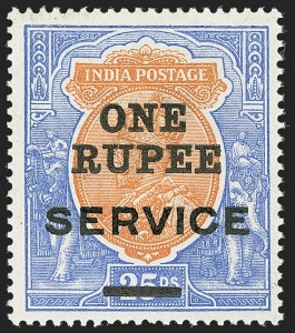 Sale Number 1143, Lot Number 3442, India - OfficialsINDIA, 1925, 1r on 25r Ultramarine & Brown Orange, Official, Trial Surcharge Essay (SG O103E; Scott O71E), INDIA, 1925, 1r on 25r Ultramarine & Brown Orange, Official, Trial Surcharge Essay (SG O103E; Scott O71E)