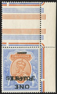 Sale Number 1143, Lot Number 3443, India - OfficialsINDIA, 1925, 1r on 25r Ultramarine & Brown Orange, Inverted Surcharge (SG O103a; Scott O71a), INDIA, 1925, 1r on 25r Ultramarine & Brown Orange, Inverted Surcharge (SG O103a; Scott O71a)