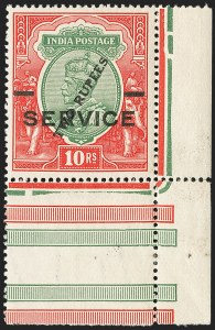 Sale Number 1143, Lot Number 3445, India - OfficialsINDIA, 1925, 2r on 10r Carmine Rose & Green, Surcharge on King George V (SG O104; O69b), INDIA, 1925, 2r on 10r Carmine Rose & Green, Surcharge on King George V (SG O104; O69b)