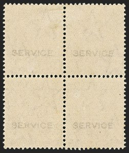 "Sale Number 1143, Lot Number 3446, India - OfficialsINDIA, 1932, 1a3p Violet, Official, ""Service"" Overprint on Reverse (SG O128 var; Scott O96 var), INDIA, 1932, 1a3p Violet, Official, ""Service"" Overprint on Reverse (SG O128 var; Scott O96 var)"
