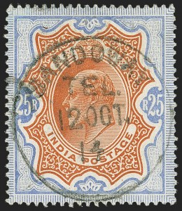 Sale Number 1143, Lot Number 3453, India - Used AbroadINDIA, Used in Burma, 1902, 25r Ultramarine & Orange Brown (SG 147; Scott 76), INDIA, Used in Burma, 1902, 25r Ultramarine & Orange Brown (SG 147; Scott 76)