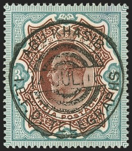 Sale Number 1143, Lot Number 3454, India - Used AbroadINDIA, Used in Iraq, 1904, 3r Green & Brown, 1911-23, 8a Red Violet (SG 141, 182; Scott 72, 91), INDIA, Used in Iraq, 1904, 3r Green & Brown, 1911-23, 8a Red Violet (SG 141, 182; Scott 72, 91)