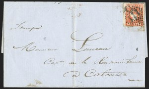 Sale Number 1143, Lot Number 3460, India - Used AbroadINDIA, Used in Pondicherry, 1854, 1a Red (SG 14; Scott 4), INDIA, Used in Pondicherry, 1854, 1a Red (SG 14; Scott 4)