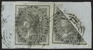 Sale Number 1143, Lot Number 3462, India - Used AbroadINDIA, Used in Straits Settlements, 1855-64, 4a Black on Blue Glazed Paper, Half Used as 2a (SG Z68a; Scott A9a), INDIA, Used in Straits Settlements, 1855-64, 4a Black on Blue Glazed Paper, Half Used as 2a (SG Z68a; Scott A9a)
