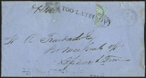 Sale Number 1143, Lot Number 3465, Ionian Islands thru JamaicaJAMAICA, 1860, 1p Blue, Diagonal Half Used as -1/2p (1a), JAMAICA, 1860, 1p Blue, Diagonal Half Used as -1/2p (1a)