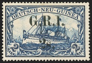 Sale Number 1143, Lot Number 3501, New Britain thru New ZealandNEW BRITAIN, 1914, 2sh on 2m Blue (28; SG 28), NEW BRITAIN, 1914, 2sh on 2m Blue (28; SG 28)