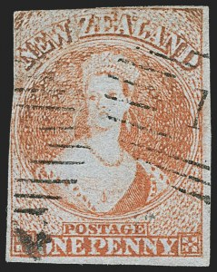 Sale Number 1143, Lot Number 3504, New Britain thru New ZealandNEW ZEALAND, 1855-58, 1p Orange Red, 2p Blue (4-5; SG 4-5), NEW ZEALAND, 1855-58, 1p Orange Red, 2p Blue (4-5; SG 4-5)