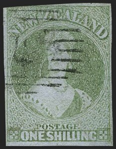Sale Number 1143, Lot Number 3505, New Britain thru New ZealandNEW ZEALAND, 1858, 1sh Green on Blue Paper (6; SG 6), NEW ZEALAND, 1858, 1sh Green on Blue Paper (6; SG 6)