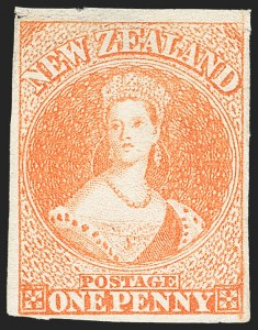 Sale Number 1143, Lot Number 3506, New Britain thru New ZealandNEW ZEALAND, 1858, 1p Orange, Soft Paper (7; SG 8), NEW ZEALAND, 1858, 1p Orange, Soft Paper (7; SG 8)