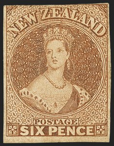 Sale Number 1143, Lot Number 3509, New Britain thru New ZealandNEW ZEALAND, 1859, 6p Brown, Soft Paper (9; SG 13), NEW ZEALAND, 1859, 6p Brown, Soft Paper (9; SG 13)