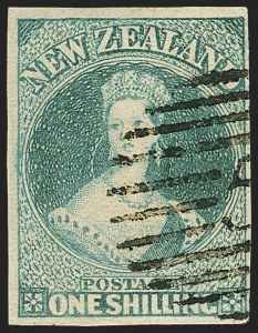 Sale Number 1143, Lot Number 3511, New Britain thru New ZealandNEW ZEALAND, 1861, 1sh Blue Green, Soft Paper (10; SG 17), NEW ZEALAND, 1861, 1sh Blue Green, Soft Paper (10; SG 17)