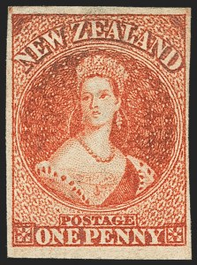 Sale Number 1143, Lot Number 3512, New Britain thru New ZealandNEW ZEALAND, 1863, 1p Carmine Vermilion (11d; SG 35), NEW ZEALAND, 1863, 1p Carmine Vermilion (11d; SG 35)