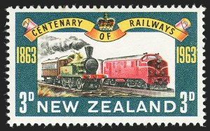 Sale Number 1143, Lot Number 3513, New Britain thru New ZealandNEW ZEALAND, 1963, 3p Railway, Blue (Sky) Omitted (362a; SG 818a), NEW ZEALAND, 1963, 3p Railway, Blue (Sky) Omitted (362a; SG 818a)