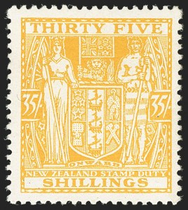 Sale Number 1143, Lot Number 3514, New Britain thru New ZealandNEW ZEALAND, 1931, 35sh Yellow, Cowan Paper (AR62; SG F161), NEW ZEALAND, 1931, 35sh Yellow, Cowan Paper (AR62; SG F161)
