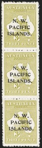 Sale Number 1143, Lot Number 3522, Niger Coast Protectorate thru PalestineNORTH WEST PACIFIC ISLANDS, 1915 3p Greenish Olive (3d; SG 76c), NORTH WEST PACIFIC ISLANDS, 1915 3p Greenish Olive (3d; SG 76c)