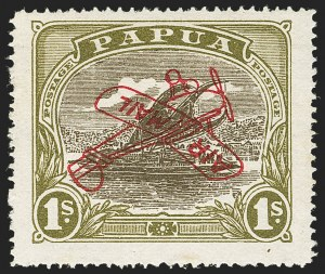 Sale Number 1143, Lot Number 3528, Papua thru RhodesiaPAPUA, 1930, 1sh Olive Green & Olive Brown, Air Post, Inverted Overprint (C4a; SG 117a), PAPUA, 1930, 1sh Olive Green & Olive Brown, Air Post, Inverted Overprint (C4a; SG 117a)