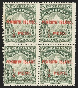 Sale Number 1143, Lot Number 3529, Papua thru RhodesiaPENRHYN ISLAND, 1902, -1/2p Green, Vermilion Overprint, Mixed Perfs 14 and 11 (5 var; SG 12), PENRHYN ISLAND, 1902, -1/2p Green, Vermilion Overprint, Mixed Perfs 14 and 11 (5 var; SG 12)