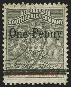 Sale Number 1143, Lot Number 3532, Papua thru RhodesiaRHODESIA, 1896, 1p on 4sh Gray & Vermilion (41; SG 52), RHODESIA, 1896, 1p on 4sh Gray & Vermilion (41; SG 52)