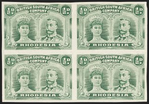Sale Number 1143, Lot Number 3534, Papua thru RhodesiaRHODESIA, 1910, -1/2p Bluish Green, Imperforate (101; SG 120a), RHODESIA, 1910, -1/2p Bluish Green, Imperforate (101; SG 120a)