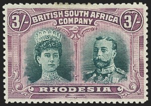 Sale Number 1143, Lot Number 3537, Papua thru RhodesiaRHODESIA, 1910, 3sh Violet & Green, Magenta & Bright Green (114 var; SG 158, 158a), RHODESIA, 1910, 3sh Violet & Green, Magenta & Bright Green (114 var; SG 158, 158a)