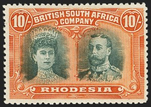 Sale Number 1143, Lot Number 3539, Papua thru RhodesiaRHODESIA, 1910, 10sh Red Orange & Myrtle Green (117a; SG 163), RHODESIA, 1910, 10sh Red Orange & Myrtle Green (117a; SG 163)