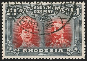 Sale Number 1143, Lot Number 3540, Papua thru RhodesiaRHODESIA, 1910, £1 Black & Red (118a; SG 166), RHODESIA, 1910, £1 Black & Red (118a; SG 166)