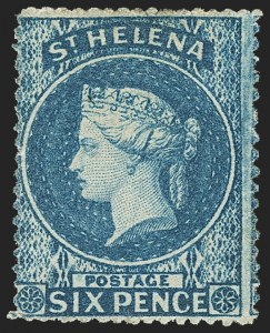Sale Number 1143, Lot Number 3541, St. Helena thru SamoaST. HELENA, 1861, 6p Blue, Clean-Cut Perf 14 to 15-1/2 (2; SG 2), ST. HELENA, 1861, 6p Blue, Clean-Cut Perf 14 to 15-1/2 (2; SG 2)
