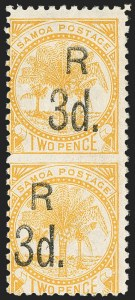 Sale Number 1143, Lot Number 3552, St. Helena thru SamoaSAMOA, 1895, 3p on 2p Orange, Vertical Pair, Imperforate Between (25c; SG 79a), SAMOA, 1895, 3p on 2p Orange, Vertical Pair, Imperforate Between (25c; SG 79a)