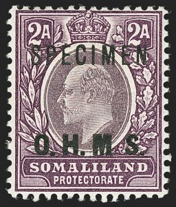 "Sale Number 1143, Lot Number 3557, Seychelles thru TransvaalSOMALILAND PROTECTORATE, 1904, 8a Red Violet Official, No Period After ""M"", Specimen Overprint (O4aS; SG O12as), SOMALILAND PROTECTORATE, 1904, 8a Red Violet Official, No Period After ""M"", Specimen Overprint (O4aS; SG O12as)"