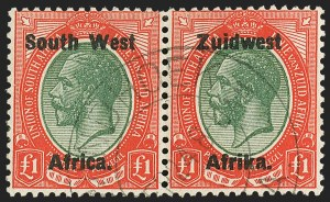 Sale Number 1143, Lot Number 3558, Seychelles thru TransvaalSOUTH WEST AFRICA, 1923-24, 3p, 1sh-5sh, £1 Overprints, Setting III (19, 22-25, 27; SG 19, 22-25, 27), SOUTH WEST AFRICA, 1923-24, 3p, 1sh-5sh, £1 Overprints, Setting III (19, 22-25, 27; SG 19, 22-25, 27)