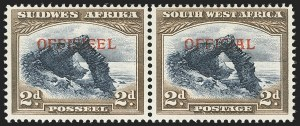 Sale Number 1143, Lot Number 3559, Seychelles thru TransvaalSOUTH WEST AFRICA, 1947, 2p Dark Brown and Dark Blue 1947 Official, Bilingual Pair (O21; SG O21), SOUTH WEST AFRICA, 1947, 2p Dark Brown and Dark Blue 1947 Official, Bilingual Pair (O21; SG O21)