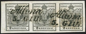 Sale Number 1143, Lot Number 3643, Austria incl. Lombardy-VenetiaAUSTRIA, 1850, 2kr Black, Hand-Made Paper (2), AUSTRIA, 1850, 2kr Black, Hand-Made Paper (2)