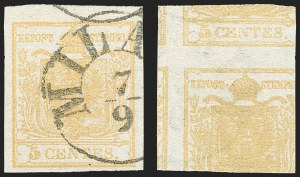 Sale Number 1143, Lot Number 3651, Austria incl. Lombardy-VenetiaLOMBARDY-VENETIA, 1850, 5c Buff, Printed on Both Sides (1a), LOMBARDY-VENETIA, 1850, 5c Buff, Printed on Both Sides (1a)
