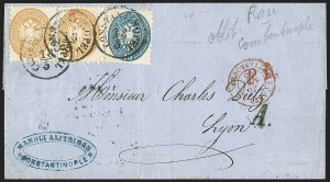 Sale Number 1143, Lot Number 3652, Austria incl. Lombardy-VenetiaLOMBARDY-VENETIA, 1864-65, 10s Blue, 15s Yellow Brown (23-24), LOMBARDY-VENETIA, 1864-65, 10s Blue, 15s Yellow Brown (23-24)