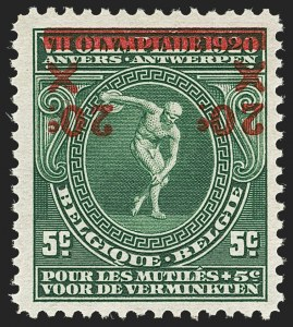 Sale Number 1143, Lot Number 3655, Belgian Congo thru BoliviaBELGIUM, 1921, 20c on 5c+5c Olympics, Inverted Surcharge (140a; COB 184-Cu), BELGIUM, 1921, 20c on 5c+5c Olympics, Inverted Surcharge (140a; COB 184-Cu)