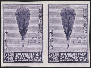 Sale Number 1143, Lot Number 3657, Belgian Congo thru BoliviaBELGIUM, 1932, 75c-2.50fr Piccard's Balloon, Imperforate (251-253 vars; COB 353-355 vars), BELGIUM, 1932, 75c-2.50fr Piccard's Balloon, Imperforate (251-253 vars; COB 353-355 vars)